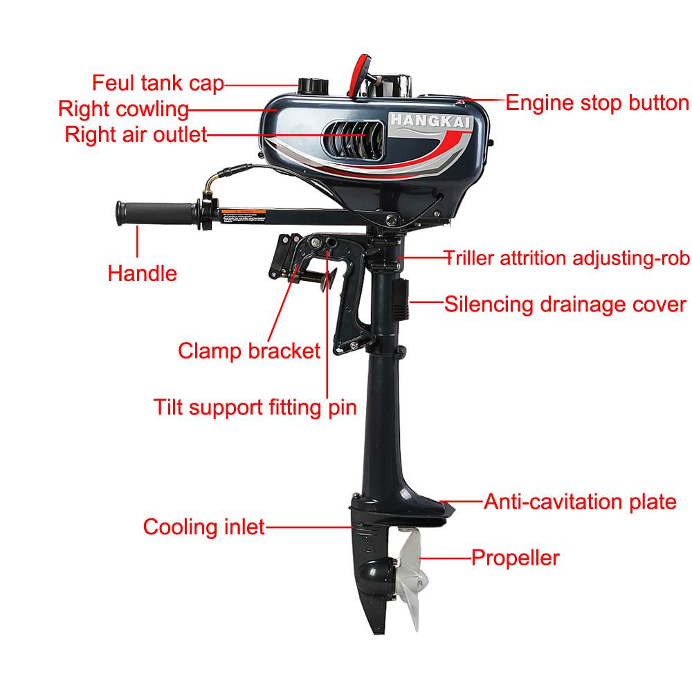 Outboard motor 2hp 2 stroke compact portable yachts water for 2 stroke boat motors